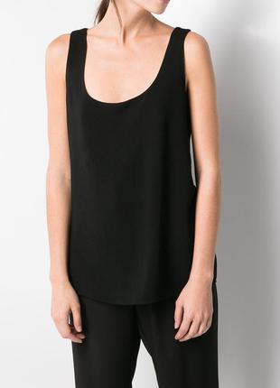 Новый топ mango без рукава блузка майка черный черная бретельках классическая летняя