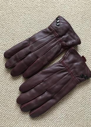 Кожа 100% бордо шикарные перчатки