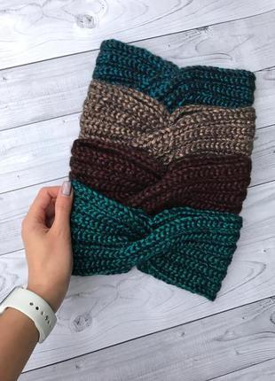 Блестящая повязка на голову, повязка чалма, вязаная повязка, зимняя повязка