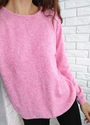 Розовый свитер меланж, хлопок