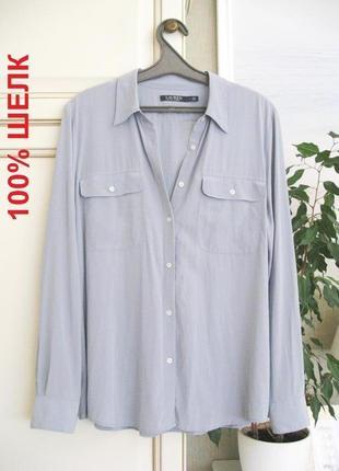 Люксовая блузка рубашка ralph lauren, silk 100% шелк, оригинал (укр 46/48, l/xl)