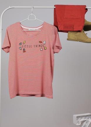 Полосата футболка в рубчик з надписом - шалений сейл до 01.12