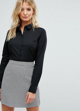 💥1+1=3 фирменная черная приталенная блуза блузка amisu, размер 44 - 46