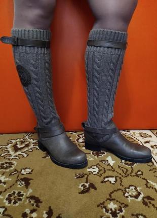 Женские кожаные сапоги с вязаным носком-tommy hilfiger р.40 ст.27см