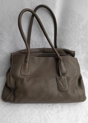 Сумка тоут tote bag натуральная кожа вместительная оригинал оливковая