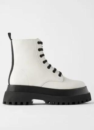 Кожаные ботинки на тракторной подошве / платформе/ шкіряні черевики на тракторній підошві