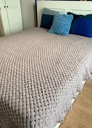 Плюшевый плед, 180 на 220, покрывало, одеяло, ручная работа
