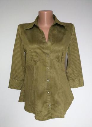 Блуза-рубашка хаки в полоску h&m 10(38)