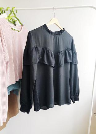 Блуза легкая с рюшами объёмная рубашка