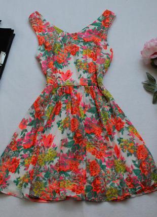 Яркое шифоновое платье select 10uk