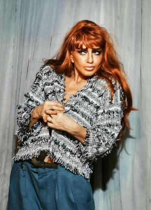 Жакет пиджак кардиган коттон river island в стиле chanel с бахромой в полоску с люрексом
