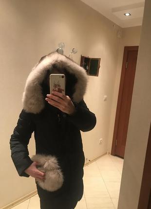 Куртка-пуховик с натуральным мехом песца