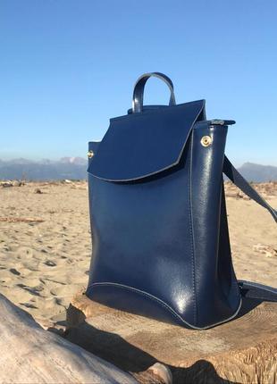 Рюкзак-сумка из кожи (темно-синяя) распродажа ниже закупки!