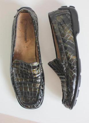 Кожаные мокасины туфли лоферы, натуральная кожа под крокодила,бренд salamander