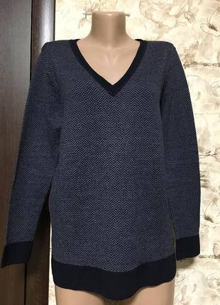 Мягкий шерстяной пуловер в ёлочку,винтаж mike devis