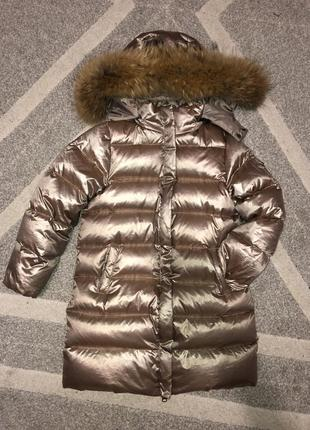 Пуховик курточка с мехом енота 120-130 р.