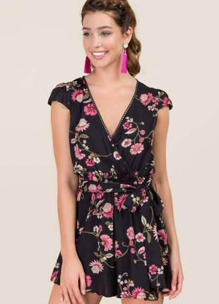Шикарный ромпер цветочный принт комбинезон комбез платье с запахом asos