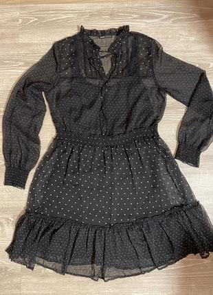 Стильное платье в горох cropp town / платье в горошек / оборки