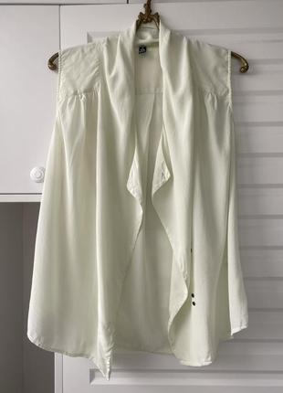 100% шёлк светлая шёлковая блуза без рукавов легкая струящаяся в офис