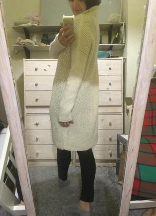 Нежное ванильное шерстяное миди платье из шерсти ламы и альпака италия 10-12
