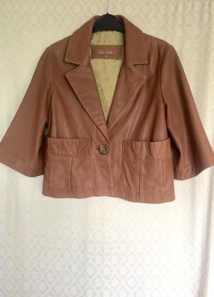 Укороченый жакет, пиджак, куртка из натуральной кожи-лайки