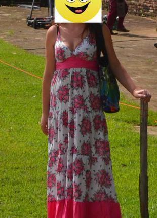 Легкий длинный летний сарафан в цветочный принт с рюшей.  100% хлопок