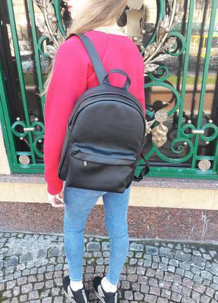 Новый городской женский рюкзак кожа черный