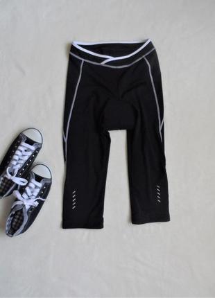 Вело-бриджи женские чёрные crivit sports с памперсом/велошорты велокапри германия/l