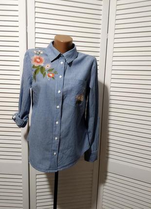 Рубашка в полоску с вышивкой