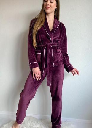 Велюровый плюшевый костюм для дома, укороченный халат со штанами, пижама, піжама