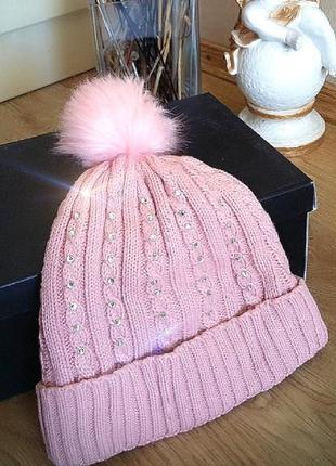 Розовая зимняя шапка со стразами утепленная!(8-11л)