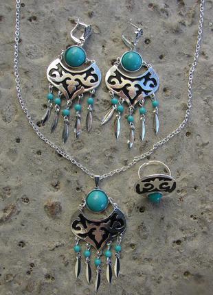 Комплект набор украшений кулон ожерелье серьги кольцо в стиле бохо с камнем. цвет серебро
