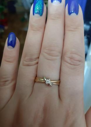Кольцо с бриллиантом 750 италия