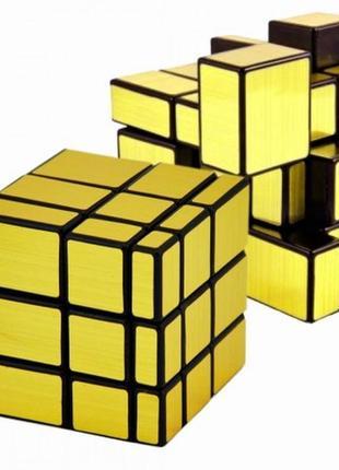 Кубик рубика 3х3х3 зеркальный (золото) +подарок