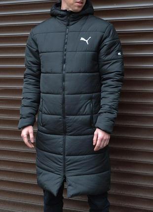 Зимняя мужская куртка парка puma удлиненная черная m,l,xl  😎