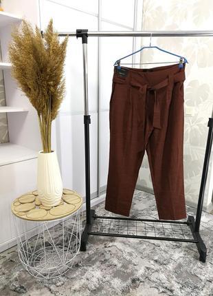 Стильные коричневые брюки в клетку с высокой посадкой, р. 14