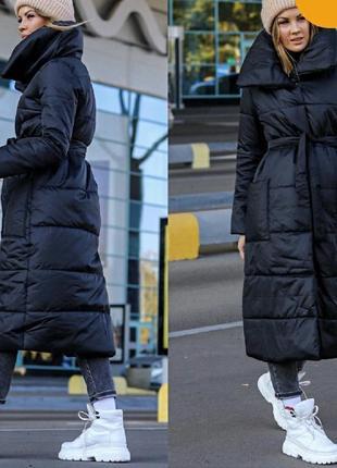 Пальто еврозима. тёмно синее с поясом.