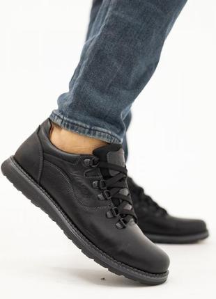 Мужские туфли кожаные весна/осень черные-матовые