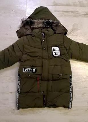 Стильная зимняя куртка с манжетами и съемным капюшоном glo-story 150 см