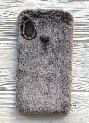 Меховой чехол для samsung a30 чёрный