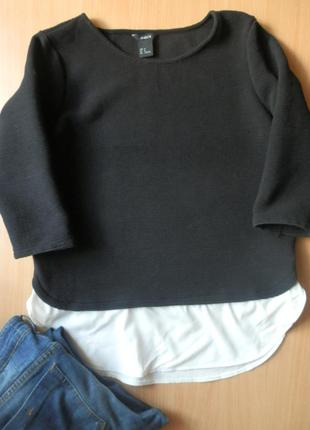 Актуальная черная кофта оверсайз с шифоновым низом lindex