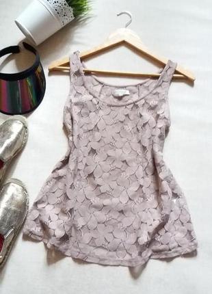 Нюдовая кружевная блуза