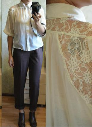 Красивая шифоновая блуза с кружевными вставками madam rage