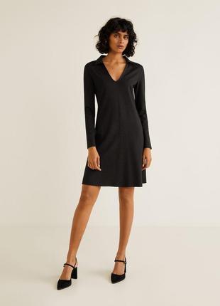 Черное осеннее платье в горошек манго mango mango