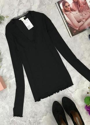 Классическая блуза декорированная кружевом  sh1847080 h&m