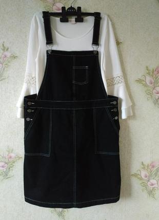 Чёрный женский сарафан # женский джинсовый сарафан # tu women