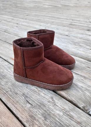 Угги детские теплые u 72 ботиночки уггі дитячі сапожки коричневые эко замшевые