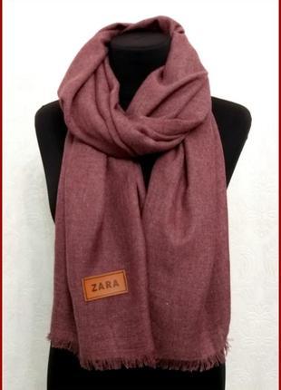 Однотонный мягкий шарф zara бордовый