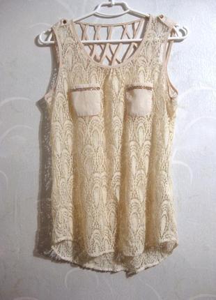 Майка блуза miss charm paris ажурная гипюр бежевая белая