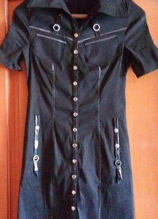 Стильное летнее черное платье на кнопках elegance